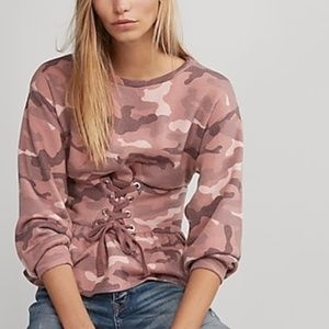 NWT  EXPRESS ONE ELEVEN Pink Camo Print Sweatshirt